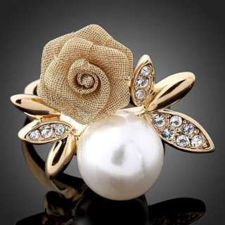 Swarovski Crystal Rose Pearl Yellow Gold GP Finger Ring