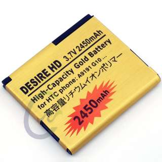 New Gold 2450Mah High Capacity Replacement Battery For Htc Desire Hd