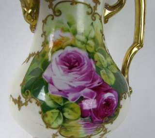 Antique French Limoges Porcelain Hand Painted Chocolate Pot Roses