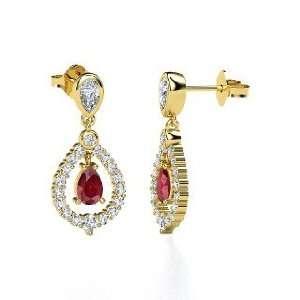 Kate Earrings, Pear Ruby 14K Yellow Gold Earrings with Diamond