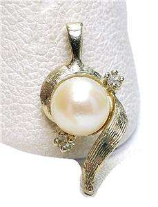 Vintage 14k white Gold Pearl & Diamond Pendant drop