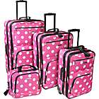 Rockland Luggage Polka Dot Expandable 4 Piece Luggage Set. (Limited