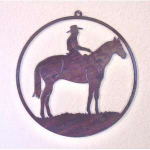 Art Hanging   Cowboy and Horse   Laser Cut Steel