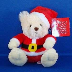 Russ   Teddy Bear Small Plush   Santa   Christmas NEW