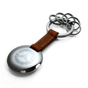 Mercedes Benz Classic Brown Leather Key Ring Automotive
