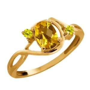 0.76 Ct Checkerboard Citrine and Diamond Gold Plated