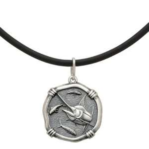 Guy Harvey 25mm Marlin Black Leather Necklace   16in Jewelry