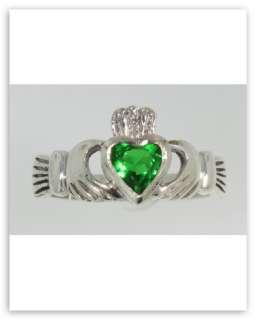 Irish Claddagh Ring w/ green stone Sterling Silver Sz 7