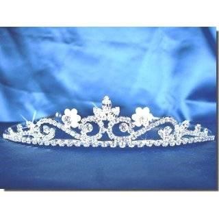Princess Rhinestones Crystal Pearl Flower Wedding Prom Tiara Crown