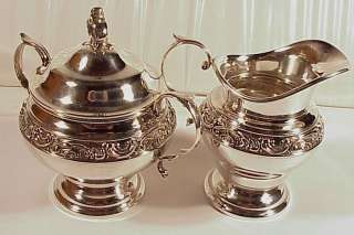 Sterling Silver Gorham Sugar Creamer Set Rose Scroll