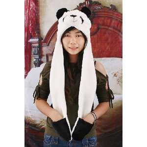 Panda Animal Hat/Cap with Long Scarf/Mittens 3in1