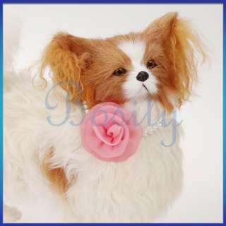 Pet Necklace Beaded Necklace Pink Rose Flower Wedding Collar