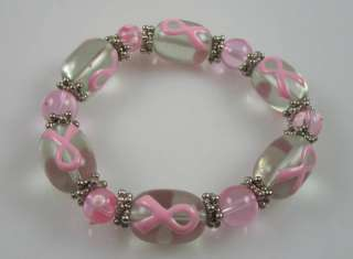 PInk Breast cancer pink ribbon beaded bracelet stretch