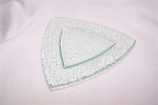 Light Green Glacier Glass Triangle Sushi Candle Plate