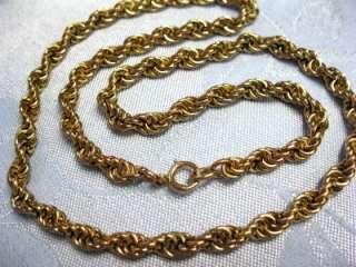 Vintage 12k Gold Filled Rope Chain Necklace 33.9g