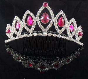 Wedding Bridal Prom Pageant Pink crystal veil Princess tiara crown