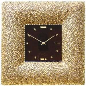 Art Glass with Gold Leaf Wall Clock Golden Quadrate Home