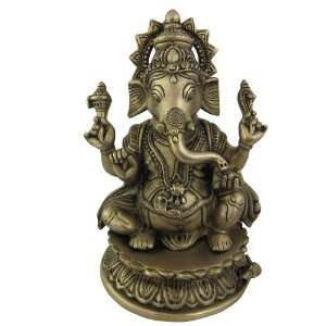 Sculpture Statue Hindu God Ganesh Metal Brass: Home & Kitchen