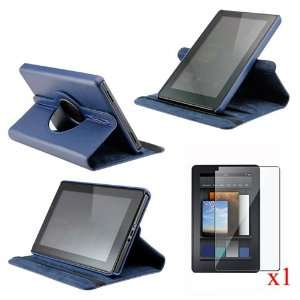 Dark Blue 360 Degree Rotating Leather Case Cover with Swivel Stand