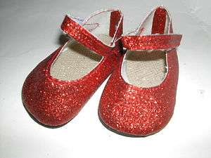 Red Glitter Doll Clothes Shoes fits American Girl