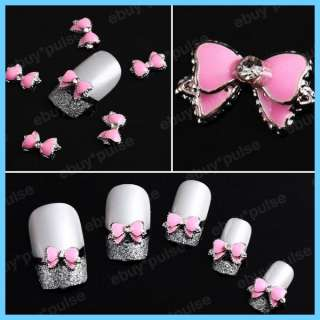 10pcs 3D Pink Cute Bow Tie Crystal Alloy Nail Art Glitters DIY