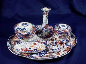 ORIENTAL FLOW BLUE COREY HILL 8 PC DRESSER SET ENGLAND