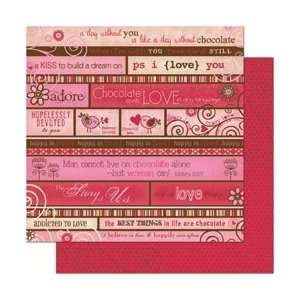 Bo Bunny Crazy Love Double Sided Heavy Weight Paper 12X12 Love Story