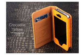 Apple iPhone 4 Leather Crocodile Case Cover Wallet Flip