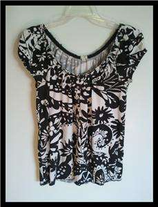 Womans J Crew Short Sleeve Knit Top SZ XS Black White Print 100%