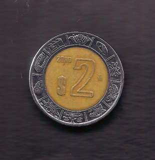 World Coins   Mexico 2 Pesos 2000 Coin KM# 604
