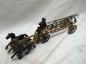 ANTIQUE CAST IRON FIRE LADDER WAGON TOY HORSE DRAWN