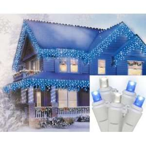 Blue & Pure White LED Wide Angle Icicle Christmas Lights   White Wire
