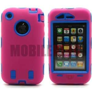 Dual Ultra Rugged Shock Proof Protector Case Hot Pink Silicone Cover