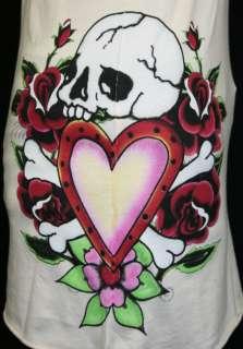 ED Hardy V Neck Tank top shirt Skull in Love Roses M