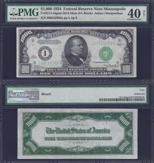 1934 $1000 ONE THOUSAND DOLLAR BILL FEDERAL RESERVE NOTE FRN PMG