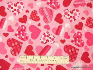 Valentine Heart Love Romance Pink Red Swirl Dot Hearts Cotton Novelty