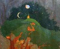 Antique Russian fairy tale folk costume figures landscape oil painting