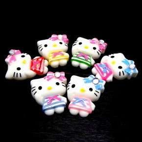 B1335 (25 pcs) Mix Hello Kitty Stripe Dress Bow 20MM Resin Flatback