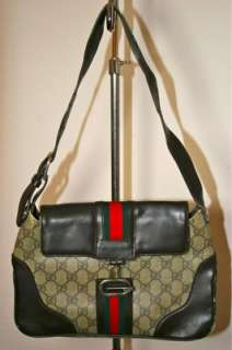 Designer Vintage Gucci Brown Monogram Green Red Small Handbag Purse