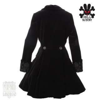 New Spin Doctor Black Velvet Victorian Goth/Emo Jacket /Coat Sizes 10