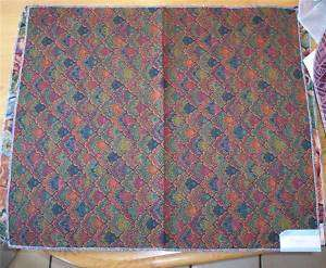Blue Red Feather Print Fabric/Upholstery Fabric Remnant 26x22