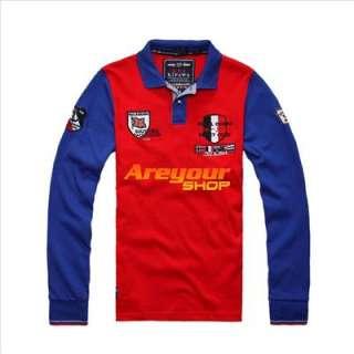 Bruce Shark Mens Long Button Neck T Shirt SzM XXL Blue White Red