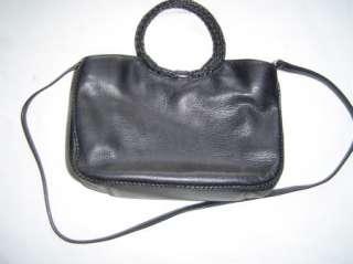 FOSSIL BLACK LEATHER PURSE BAG HANDLE & SHOULDER STRAP