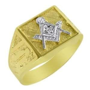 10k Yellow Gold Diamond Blue Lodge Masonic Ring Jewelry