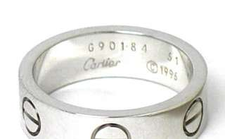 CARTIER 18K WHITE GOLD LOVE SCREW RING   SIZE 51 5 3/4mm WIDE