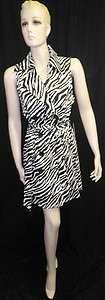New Vertigo Paris Black White Belted Zebra Coat Dress Misses Size S, L