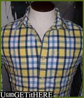Mens Abercrombie Plaid Dress Shirt M NWT Yellow White Navy Blue Button
