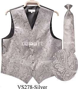 NEW Paisleys Mens Tuxedo Vest waistcoat_necktie wedding prom Silver