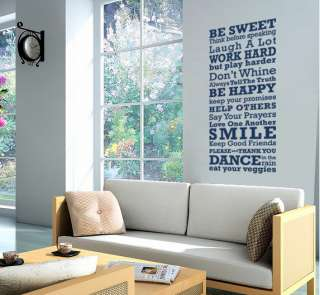 HOUSE RULES LARGE decal   vinyl wall art (phrase/quote)