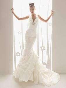 mermaid Halter bridal wedding dress custom evening gown prom backless